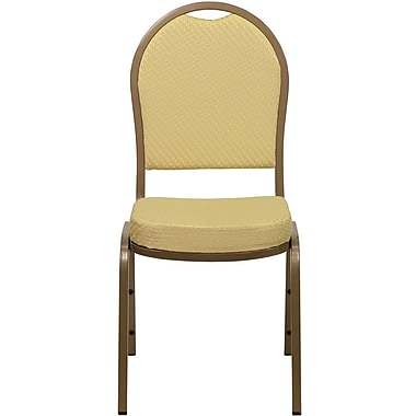 Flash Furniture HERCULES Series Dome Back Stacking Banquet Chair with Beige Patterned Fabric and Gold Frame Finish, 10/Pack