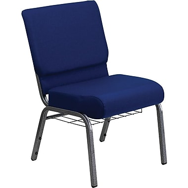 Flash Furniture HERCULES Series 21''W Church Chair with 4'' Thick Seat, Communion Cup Rack - Silver Vein Frame, Navy Blue