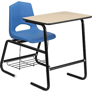Flash Furniture HERCULES™ Wood Black Frame Student Combo Desk With Blue Shell Chair, Natural