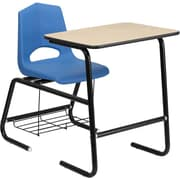 Flash Furniture HERCULES Series Student Combo Desk with Shell Chair and Book Rack, Natural Laminate/Blue/Black Frame