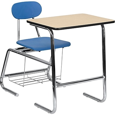 Flash Furniture HERCULES™ Wood Student Combo Desk With Blue Chair, Natural