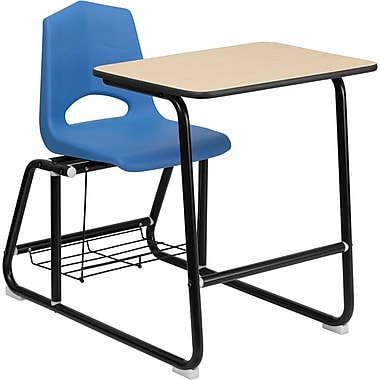 Flash Furniture HERCULES Series Student Sled Based Combo Desk with Shell Chair and Book Rack, Natural Laminate/Blue/Black Frame