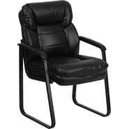 Flash Furniture Leather Executive Overstuffed Side Chair with Sled Base, Black