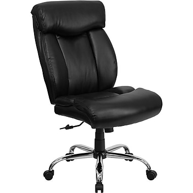 Flash Furniture HERCULES™ Big and Tall Leather Office Chair Without Arms, Black