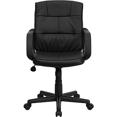 Flash Furniture - Fauteuil fonctionnel à dossier mi-dos, cuir souple, accoudoirs fixes, noir