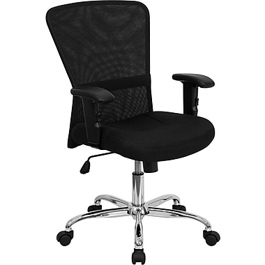 Flash Furniture Mid Back Mesh Computer Chair With Adjustable Arms and Chrome Base, Black