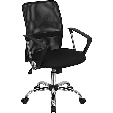 Flash Furniture Mid Back Mesh Computer Chair With Chrome Finished Base, Black