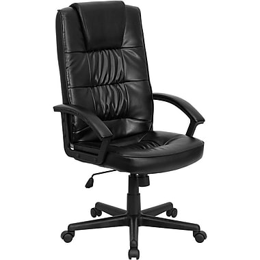 Flash Furniture GO7102 LeatherSoft High-Back Executive Chair with Adjustable Arms, Black