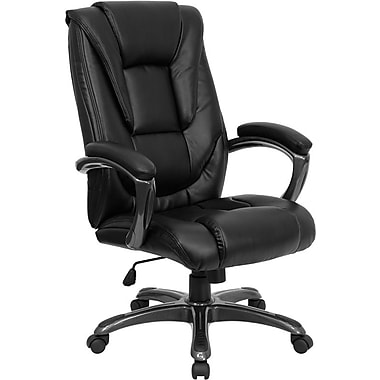 Flash Furniture High Back Leather Executive Office Swivel Chair With Smoke Nylon Arms, Black