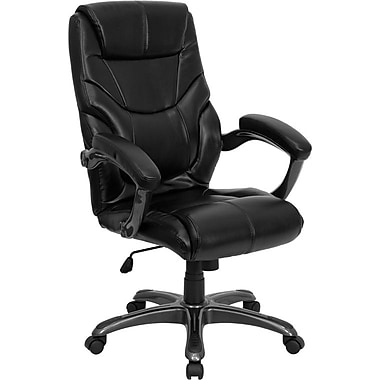 Flash Furniture 18 - 21 1/2in.H High Back Leather Overstuffed Executive Office Chair, Black