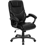 Flash Furniture High Back Leather Overstuffed Executive Office Chair with Titanium Base, Black