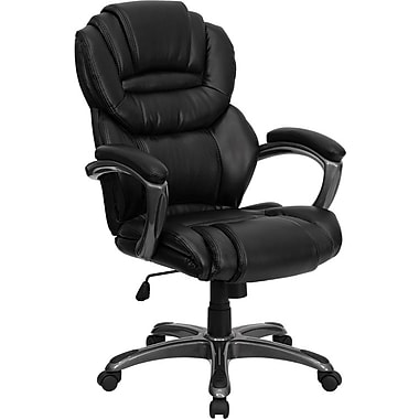 Flash Furniture High Back Leather Executive Office Chair with Leather Padded Loop Arms, Black