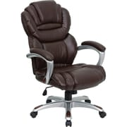 Flash Furniture High Back Leather Executive Office Chair with Leather Padded Loop Arms, Brown