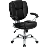 Flash Furniture Mid-Back Leather Task and Computer Chair, Black