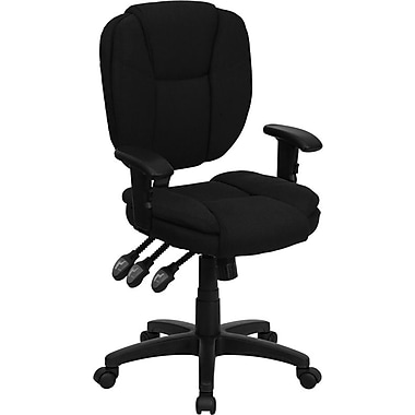 Flash Furniture Mid-Back Fabric Multi-Functional Ergonomic Task Chair with Arms, Black
