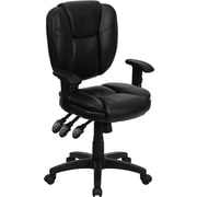 Flash Furniture Mid-Back Leather Multi-Functional Ergonomic Task Chair with Arms, Black