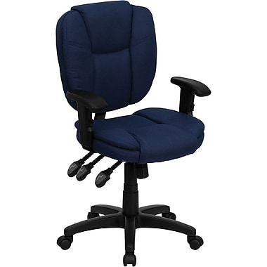 Flash Furniture Mid Back Fabric Multi-Functional Ergonomic Task Chair With Arms, Navy Blue