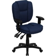 Flash Furniture Mid-Back Fabric Multi-Functional Ergonomic Task Chair with Arms, Navy Blue