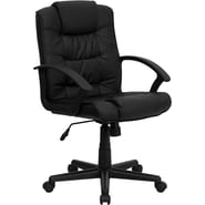Flash Furniture Mid-Back Leather Swivel Chair, Black