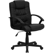 Flash Furniture LeatherSoft Leather Computer and Desk Office Chair, Fixed Arms, Black (GO937MBKLEA)