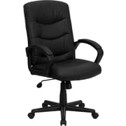 Flash Furniture Mid-Back Leather Office Chair with Padded Arms, Black