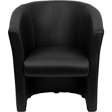 Flash Furniture LeatherSoft Barrel Shaped Guest Chair, Black (GO-S-01-BK-QTR-GG)