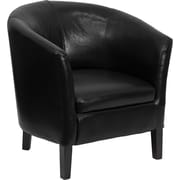 Flash Furniture Leather Barrel Shaped Guest Chair, Black