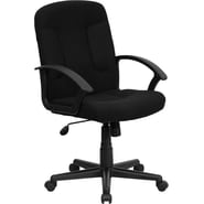 Flash Furniture Mid-Back Fabric Task and Computer Chair with Nylon Arms, Black