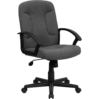 Flash Furniture Mid-Back Fabric Task and Computer Chair, Fixed Arm, Gray