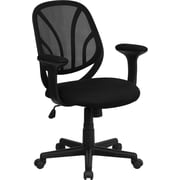 Flash Furniture GOWY05A Mesh Mid-Back Task Chair with Fixed Arms, Black