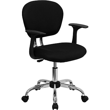 Flash Furniture H2376FBKARMS Mesh Mid-Back Task Chair with Fixed Arms, Black