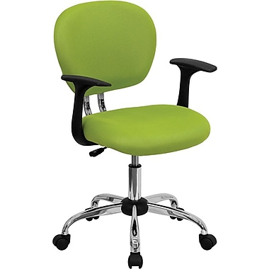 Flash Furniture Mid Back Mesh Task Chair With Arms and Chrome Base, Apple Green