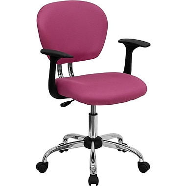 Flash Furniture Mid Back Mesh Task Chair With Arms and Chrome Base, Pink
