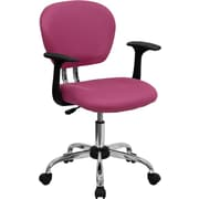 Flash Furniture Mid-Back Mesh Task Chair with Arms and Chrome Base, Pink