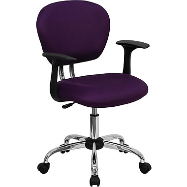 Flash Furniture Mid Back Mesh Task Chair With Arms and Chrome Base, Purple