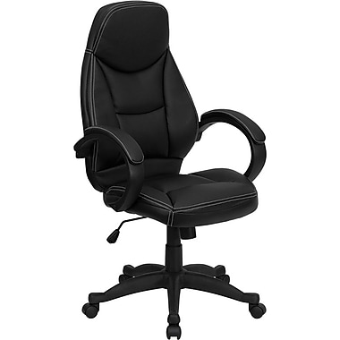 Flash Furniture High Back Curved Leather Contemporary Office Chair, Black