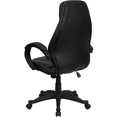 Flash Furniture HHLC0005HI1B High-Back Leather Executive Chair with Fixed Arms, Black