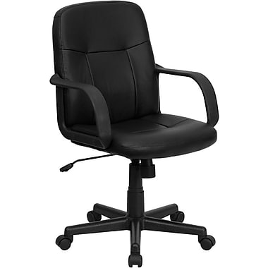 Flash Furniture Mid-Back Vinyl Executive Chair, Fixed Arms, Black