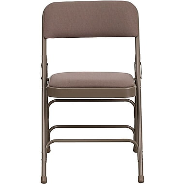 Flash Furniture HERCULES Series Curved Triple Braced & Quad Hinged Fabric Upholstered Metal Folding Chair, Beige, 4/Pack