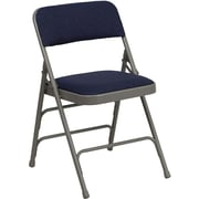 Flash Furniture HERCULES Series Curved Triple Braced & Quad Hinged Fabric Upholstered Metal Folding Chair, Navy, 20/Pack