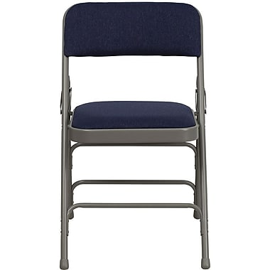 Flash Furniture HERCULES Series Curved Triple Braced & Quad Hinged Fabric Upholstered Metal Folding Chair, Navy, 4/Pack