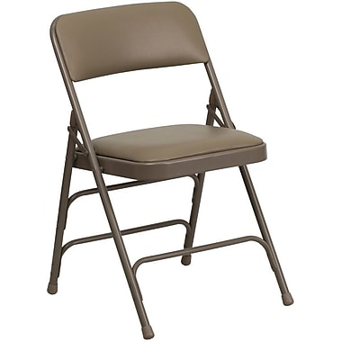 Flash Furniture HERCULES Series Curved Triple Braced & Quad Hinged Vinyl Upholstered Metal Folding Chair, Beige, 20/Pack