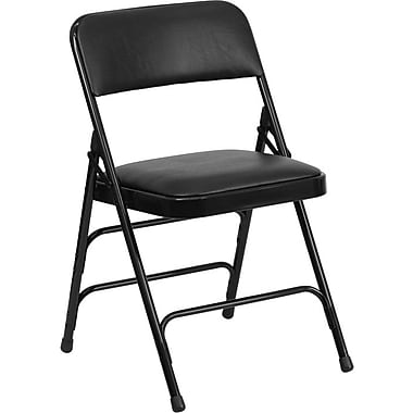 Flash Furniture HERCULES Series Curved Triple Braced & Quad Hinged Vinyl Upholstered Metal Folding Chair, Black, 20/Pack
