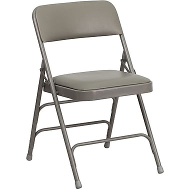 Flash Furniture HERCULES™ Curved Triple Braced Vinyl Armless Folding Chair, Gray, 20/Pack