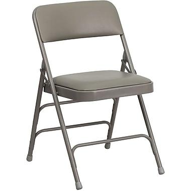 Flash Furniture HERCULES Series Curved Triple Braced & Quad Hinged Vinyl Upholstered Metal Folding Chair, Gray, 20/Pack