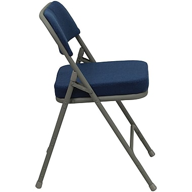 Flash Furniture HERCULES Series Premium Curved Triple Braced & Quad Hinged Fabric Upholstered Metal Folding Chair, Navy, 4/Pack