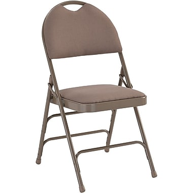 Flash Furniture HERCULES Series Extra Large Triple Braced Fabric Metal Folding Chair with Easy-Carry Handle, Beige, 12/Pack