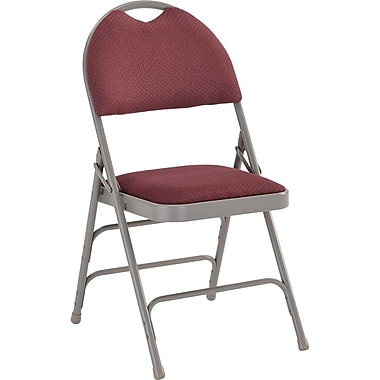 Flash Furniture HERCULES Series Extra Large Triple Braced Fabric Metal Folding Chair with Easy-Carry Handle, Burgundy, 20/Pack