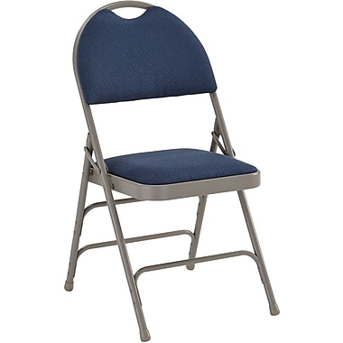 Flash Furniture HERCULES Series Extra Large Triple Braced Fabric Metal Folding Chair with Easy-Carry Handle, Navy, 32/Pack