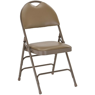 Flash Furniture HERCULES™ Triple Braced Vinyl Armless Folding Chair, Beige, 20/Pack